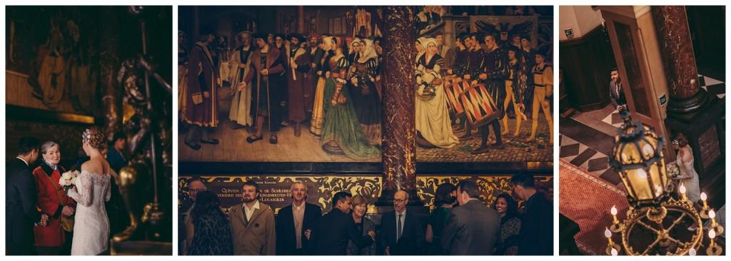 Huwelijksfotografie Antwerpen stadshuis schilderij hal gasten