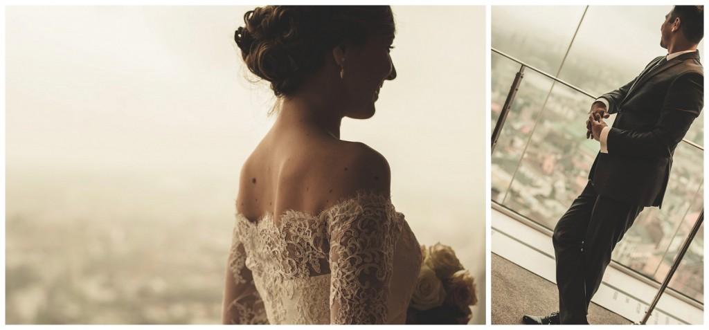 Huwelijksfotografie Antwerpen KBC toren fotoshoot bruidsjurk trouwjkleed
