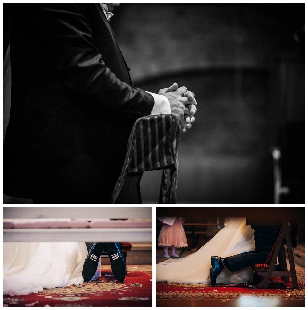 huwelijk, bruiloftfotograaf, trouw, details, schoenen, kerk heilige maria zuivering, bruidegom