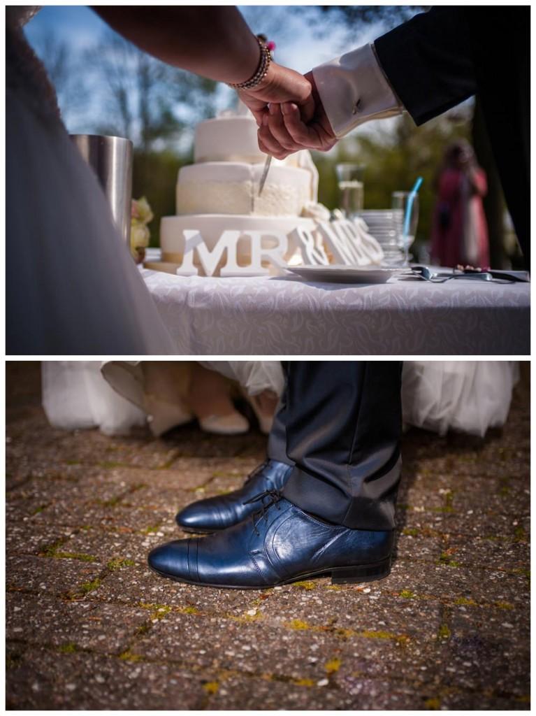 trouwfotograaf, nederland, putten, kasteel de essenburgh, bruidspaar, taart snijden