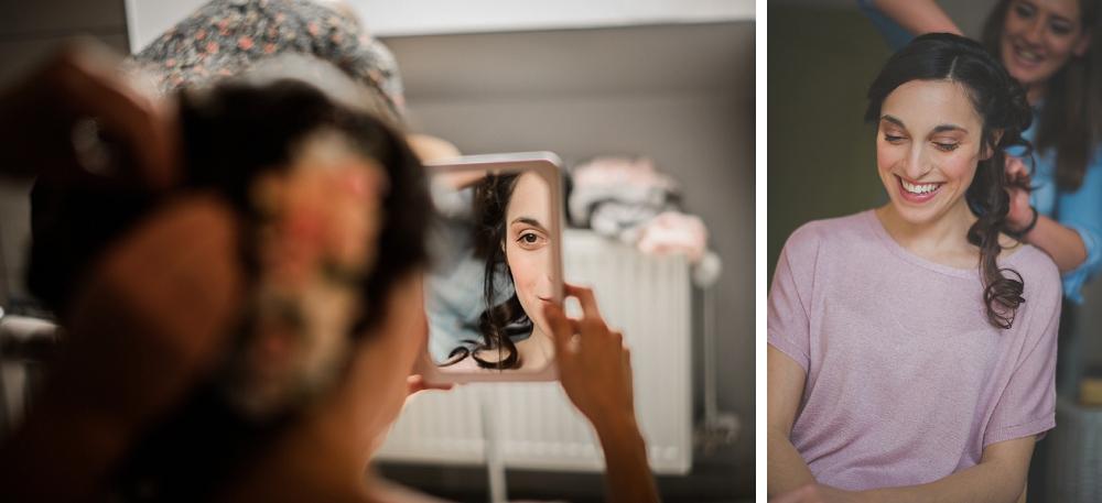 huwelijksfotograaf, bruiloft, moeder, bruid, klaarmaken, voorbereiding, make up
