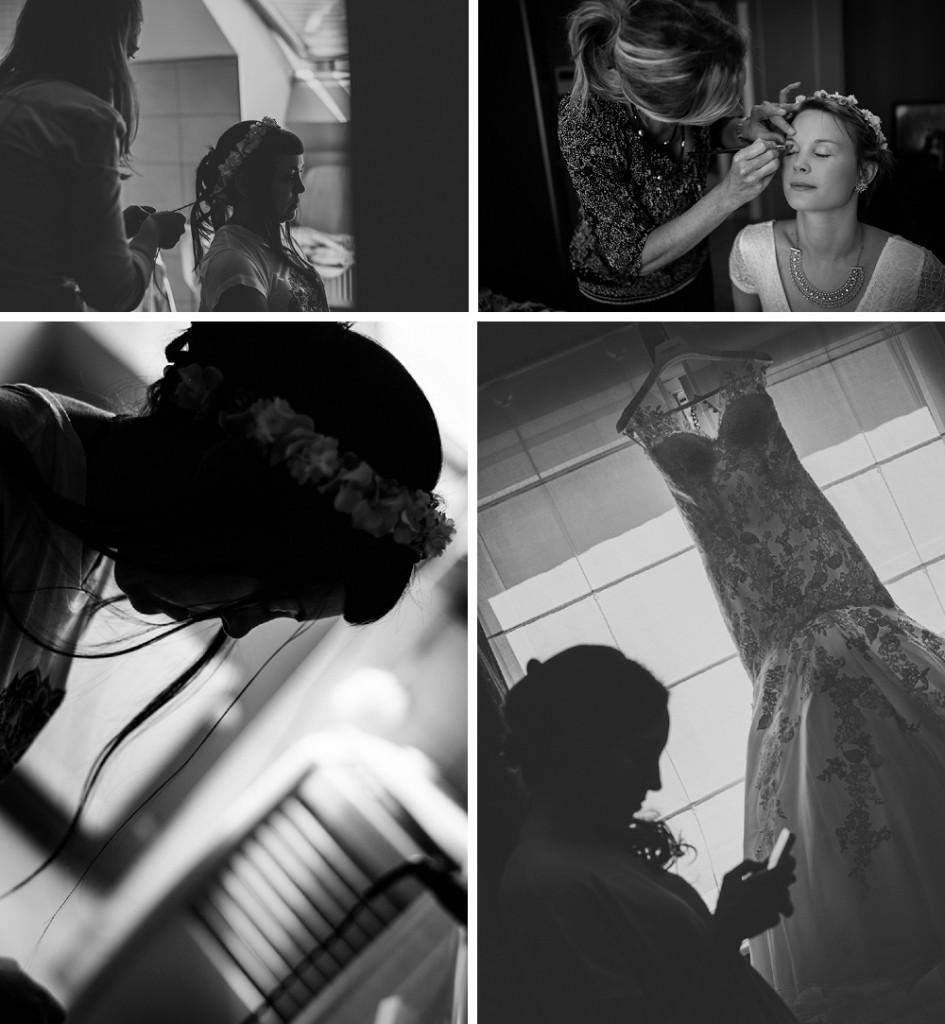 huwelijksfotograaf, bruiloft, moeder, bruid, klaarmaken, voorbereiding, make up, zus, bruidsmeisje