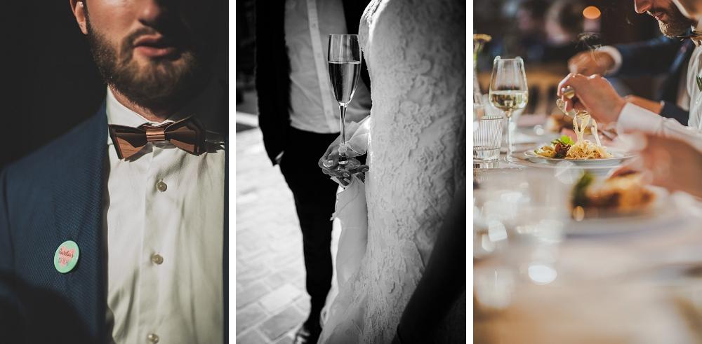 trouwfotograaf, huwelijk, champagne, strik, avondfeest, diner