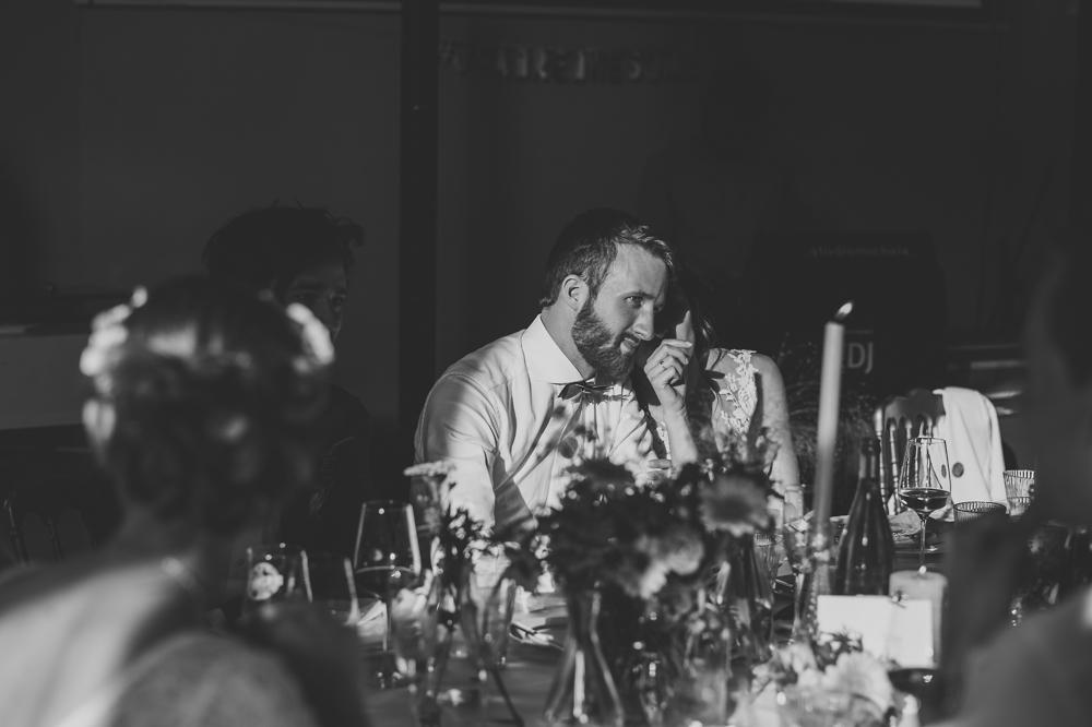 trouwfotograaf, huwelijk, bruidegom, bruid, avondfeest, diner