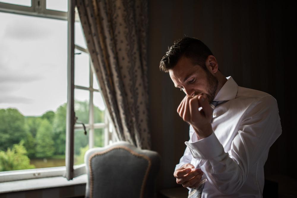 trouwfotograaf, huwelijk, bruidegom, chateau de deulin, bruidegom, voorbereiding